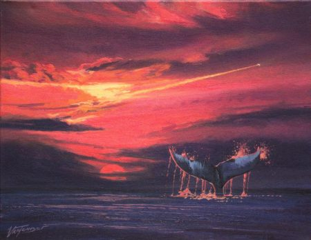 surreal painting by south african artist pieter van tonder titled '444 mammals at cruising altitude'