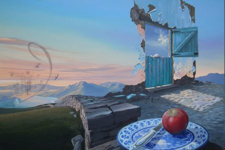 surreal painting by south african artist pieter van tonder titled 'apple'
