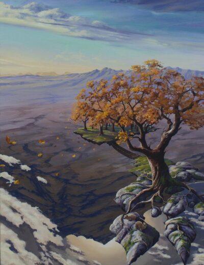 surreal painting by south african artist pieter van tonder titled 'autumn bridge'