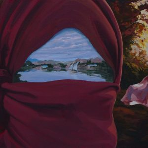 surreal painting by south african artist pieter van tonder titled 'beyond the veil'
