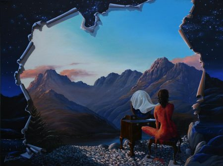 surreal painting by south african artist pieter van tonder titled 'blue hour'