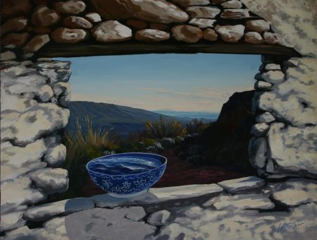 surreal painting by south african artist pieter van tonder titled 'bowl of sea'