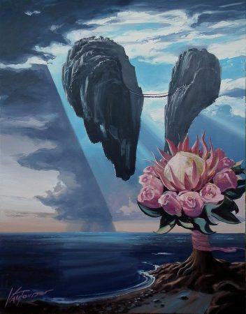 surreal painting by south african artist pieter van tonder titled 'communication breakdown'