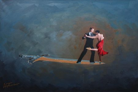 surreal painting by south african artist pieter van tonder titled 'dances on words'