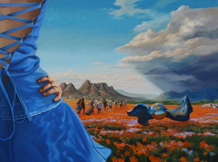 surreal painting by south african artist pieter van tonder titled 'dont look back'