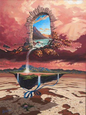 surreal painting by south african artist pieter van tonder titled 'gift of life'