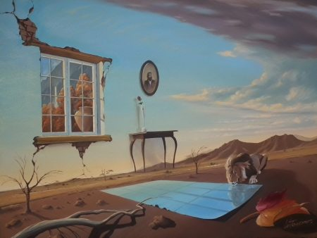 surreal painting by south african artist pieter van tonder titled 'heaven and earth'