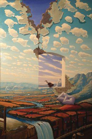surreal painting by south african artist pieter van tonder titled 'herfsdeken'