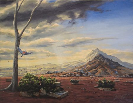 surreal painting by south african artist pieter van tonder titled 'life in a suitcase''