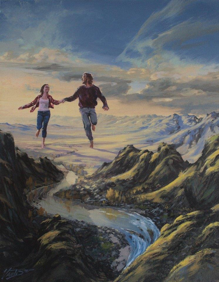 Original surreal oil painting.