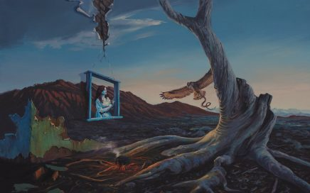 surreal painting by south african artist pieter van tonder titled 'minerva returns'