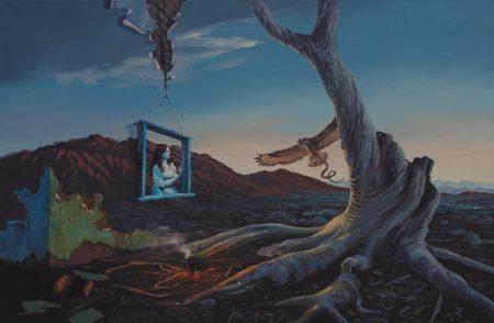 surreal painting by south african artist pieter van tonder titled 'minerva returns'