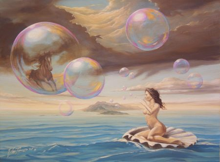 surreal painting by south african artist pieter van tonder titled 'mother of pearl'