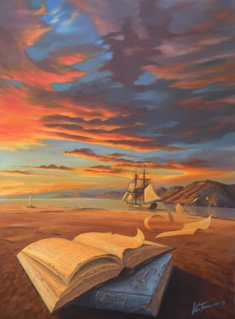 surreal painting by south african artist pieter van tonder titled 'passage of time'
