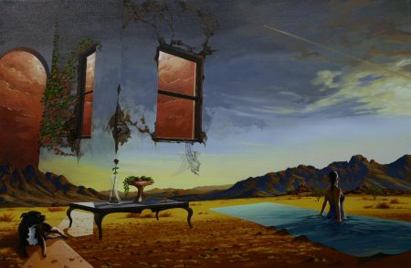 surreal painting by south african artist pieter van tonder titled 'pool of light'
