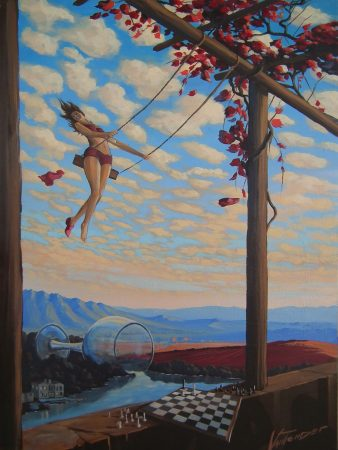 surreal painting by south african artist pieter van tonder titled 'queens gambit'