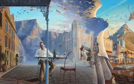surreal painting by south african artist pieter van tonder titled 'the eye'