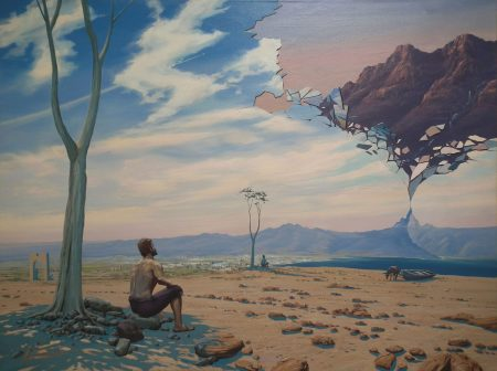 surreal painting by south african artist pieter van tonder titled 'pilgrim'