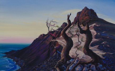 surreal painting by south african artist pieter van tonder titled 'the wishing trees'