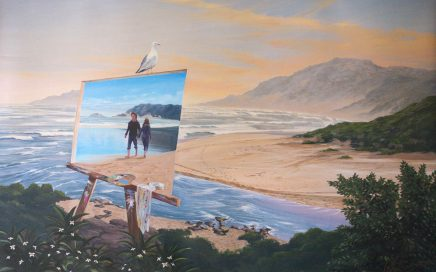 surreal painting by south african artist pieter van tonder titled 'two roads'