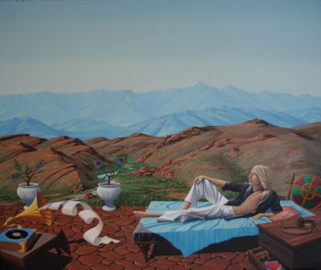 surreal painting by south african artist pieter van tonder titled 'warrior redundant''
