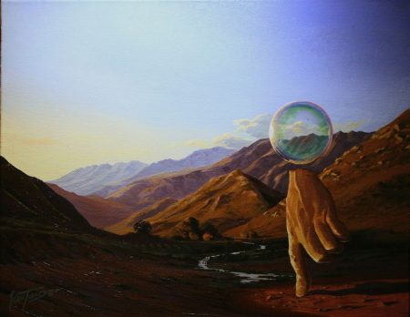 surreal painting by south african artist pieter van tonder titled 'we have a bubble on hand'