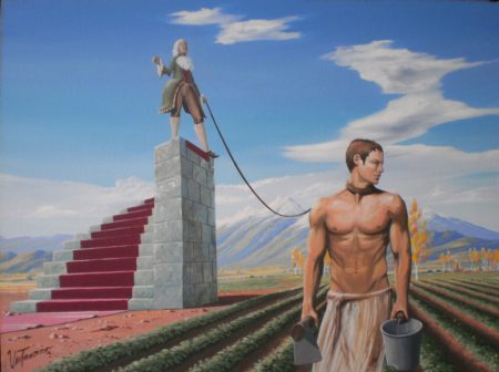 surreal painting by south african artist pieter van tonder titled 'who the master'