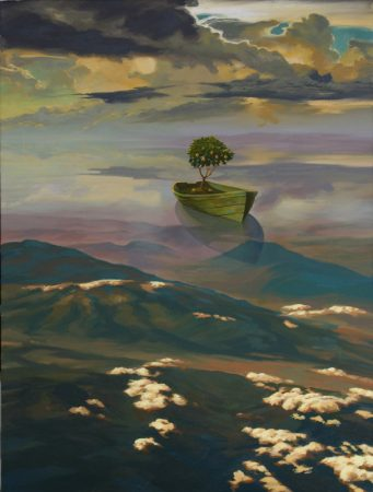 surreal painting by south african artist pieter van tonder titled 'little boat of hope'