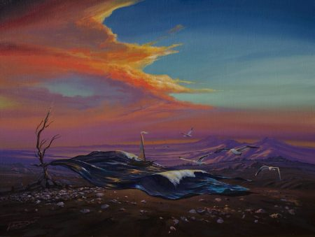 surreal painting by south african artist pieter van tonder titled 'vaste grond'
